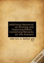 Additional Memorial On Printing And Impo