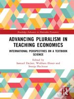 Advancing Pluralism In Teaching Economics