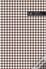Checkered Ii Pattern Composition Notebook, Dotted Lines, Wide Ruled Medium Size 6 X 9 Inch, 144 Sheet (A5) Coffee Cover