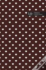 Hearts Pattern Composition Notebook, Dotted Lines, Wide Ruled Medium Size 6 X 9 Inch (A5), 144 Sheets Coffee  Cover
