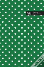 Hearts Pattern Composition Notebook, Dotted Lines, Wide Ruled Medium Size 6 X 9 Inch (A5), 144 Sheets Green Cover