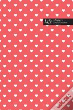 Hearts Pattern Composition Notebook, Dotted Lines, Wide Ruled Medium Size 6 X 9 Inch (A5), 144 Sheets Pink Cover
