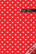 Hearts Pattern Composition Notebook, Dotted Lines, Wide Ruled Medium Size 6 X 9 Inch (A5), 144 Sheets Red  Cover