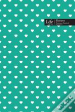 Hearts Pattern Composition Notebook, Dotted Lines, Wide Ruled Medium Size 6 X 9 Inch (A5), 144 Sheets Royal Cover