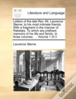 Letters Of The Late Rev. Mr. Laurence St