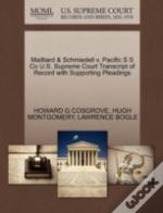 Mailliard & Schmiedell V. Pacific S S Co U.S. Supreme Court Transcript Of Record With Supporting Pleadings