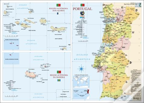 Mapa de Portugal (55,5 x 39,5 cm) - 2 Faces - Folha Plastificada