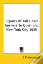 Reports Of Talks And Answers To Questions, New York City 1935