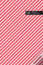Striped Pattern Composition Notebook, Dotted Lines, Wide Ruled Medium Size 6 X 9 Inch (A5), 144 Sheets Pink Cover