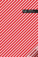 Striped Pattern Composition Notebook, Dotted Lines, Wide Ruled Medium Size 6 X 9 Inch (A5), 144 Sheets Red Cover