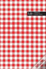 Tartan Pattern Composition Notebook, Dotted Lines, Wide Ruled Medium Size 6 X 9 Inch (A5), 144 Sheets Red Cover
